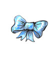 hand drawn sketch bow blue bow isolated on white vector image vector image