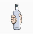 hand hold vodka bottle male hand holding a vodka vector image vector image