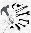 Hand holding hammer with pattern of tool vector image