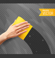 hand wiping glass realistic background vector image