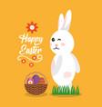 happy easter rabbit wink gesture with basket eggs vector image