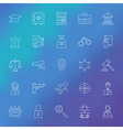 Law and Crime Line Icons Set over Blurred vector image vector image