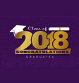 lettering class of 2018 vector image