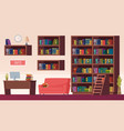 library interior book shelves info point vector image vector image