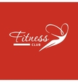 Logo silhouette of flying woman on air for fitness