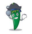 pirate green chili character cartoon vector image vector image