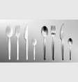 realistic white plastic and steel cutlery vector image