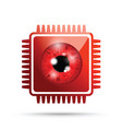 red realistic eyeball on a microchip vector image vector image
