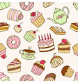 Seamless pattern of sweet cupcakes and cakes vector image