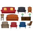 set chair and couch vector image