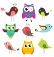 set cute birds vector image vector image