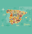 stylized map of spain vector image vector image