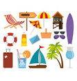summer vacations set icons vector image vector image