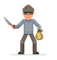 threaten knife stole money evil greedily thief vector image vector image