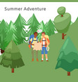 tourists men hikers traveling trekking with vector image
