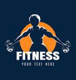 training woman fitness emblem on black background vector image vector image