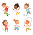 various kids in active sports characters vector image vector image