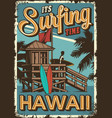 vintage surfing time poster vector image