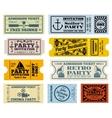 Retro party cinema invitation tickets set vector image