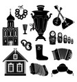 russian icons travel silhouette symbols object vector image