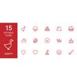 15 happy icons vector image vector image