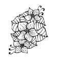 Amazing black flowers in tattoo style vector image vector image