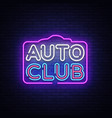 auto club neon sign car service design vector image vector image