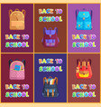 back to school backpacks set vector image vector image