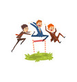 businessmen jumping over hurdles competition in vector image vector image