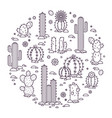 cacti in the desert elements vector image vector image