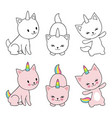 cartoon character cats unicorn isolaten on white vector image