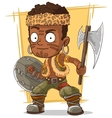 Cartoon cool zulu warrior with axe vector image vector image