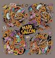 cartoon set hair salon theme objects vector image