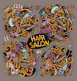 cartoon set of hair salon theme objects vector image
