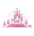castle - thin line design style vector image