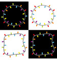 christmas lights square and round frame set vector image