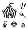 circus and attributes black icons in set vector image