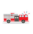 Colored fire truck with siren flat design vector image