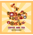 colorful coffee and tea icons vector image
