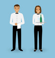 couple of male waiter and female waitress with vector image