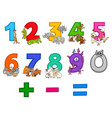 educational numbers set with funny cartoon animals vector image