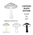 green amanita icon in cartoon style isolated on vector image vector image