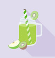 green smoothies from kiwi and apple vector image vector image