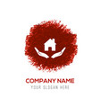 house security concept icon - red watercolor vector image