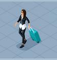 isometric 3d teenager freelancer travelers vector image vector image