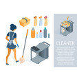 maid in uniform with cleaning trolley cartoon vector image vector image