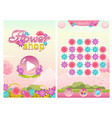 match three flower shop game with start screen vector image