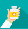 medicine container with in hand of a doctor vector image vector image