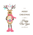 merry christmas smiling reindeer card template vector image vector image