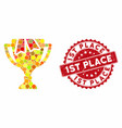 mosaic award bowl with scratched 1st place seal vector image vector image